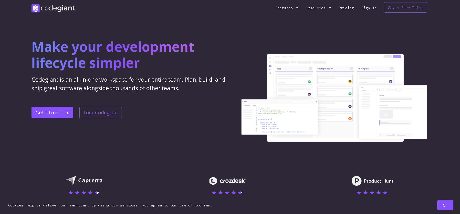 Codegiant is another popular alternative to GitHub. Pictured is the Codegiant homepage.