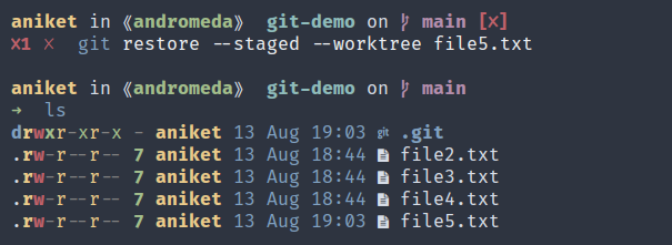 A screenshot showing the git restore command with a properly staged worktree.